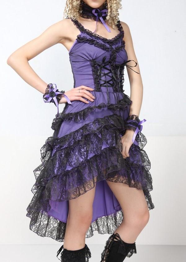Jurk paars zwart
