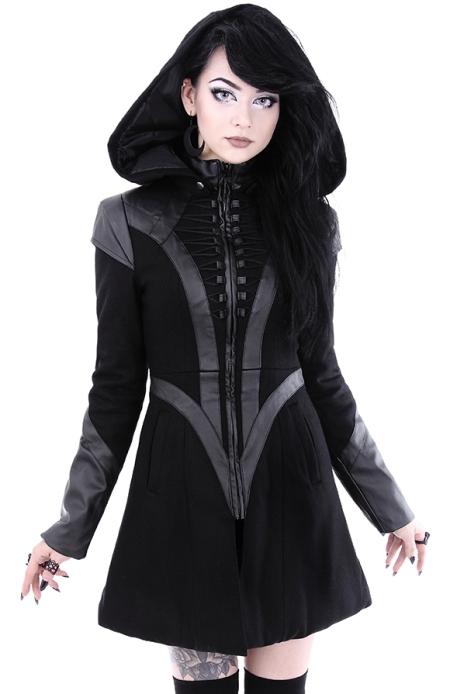 Vrouwelijke Winterjas.Future Goth Jas Van Restyle Bizzare Be Azz You Are Be Bizzare